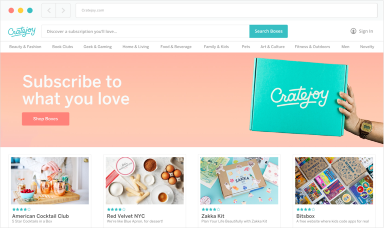 Cratejoy Marketplace and online storefront